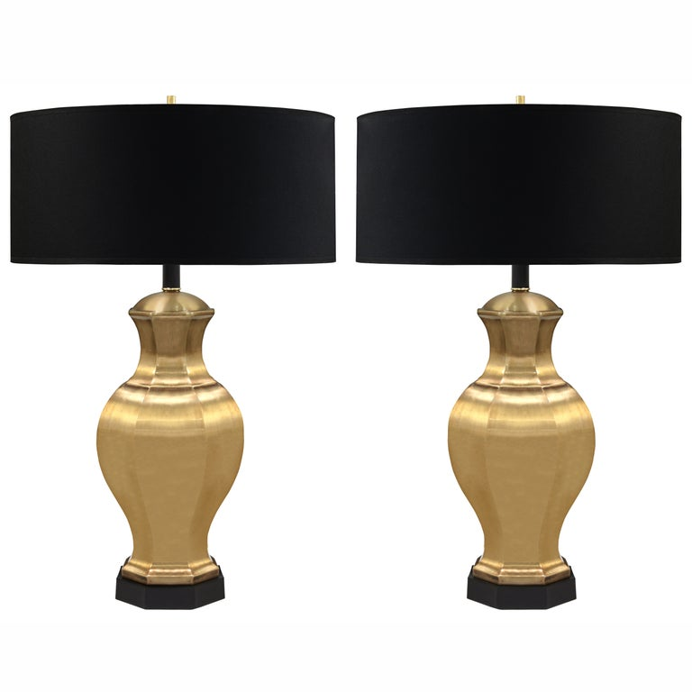 Pair of Table Lamps in Satin Brass by Chapman Lighting For Sale