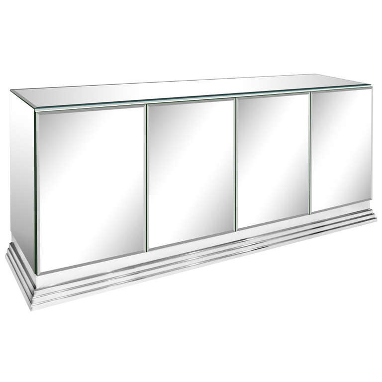 Elegant Four Door Mirrored Credenza By Ello For Sale