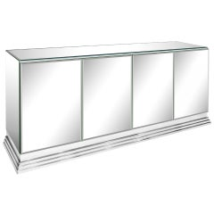 Elegant Four-Door Mirrored Credenza by Ello