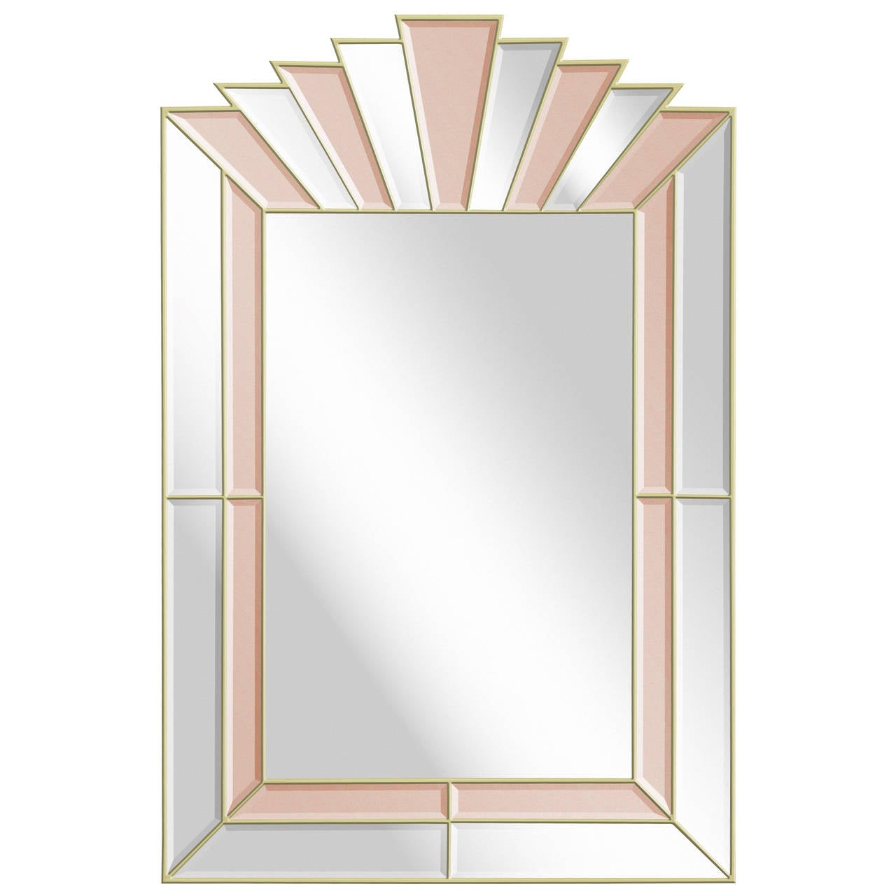 Art Deco Style Mirror with Clear and Champagne Tinted Mirrored Panels 1