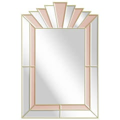 Art Deco Style Mirror with Clear and Champagne Tinted Mirrored Panels
