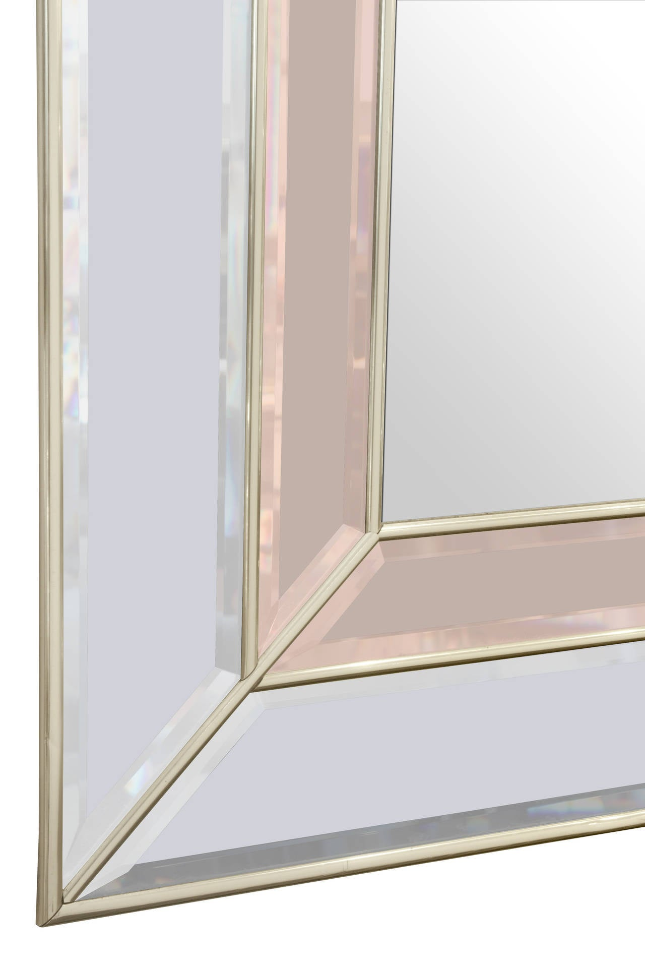 Mid-Century Modern Art Deco Style Mirror with Clear and Champagne Tinted Mirrored Panels For Sale