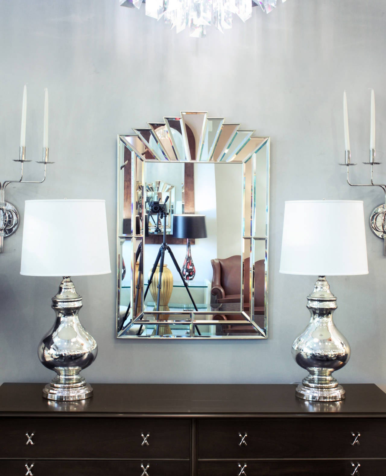 American Art Deco Style Mirror with Clear and Champagne Tinted Mirrored Panels For Sale