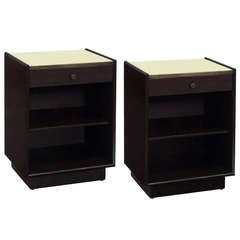 Pair of Bedside Tables with Leather Tops by Harvey Probber
