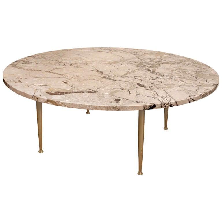 Marble Top Coffee Table Brass Legs: Elegant Coffee Table In Marble With Brass Legs At 1stdibs