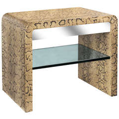 Waterfall Side Table Covered in Python by Karl Springer