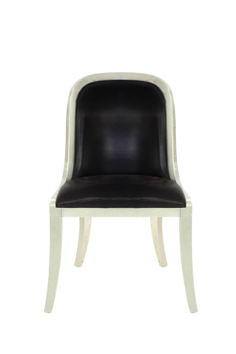 set of six regina chairs in lacquered silver leaf by karl  -