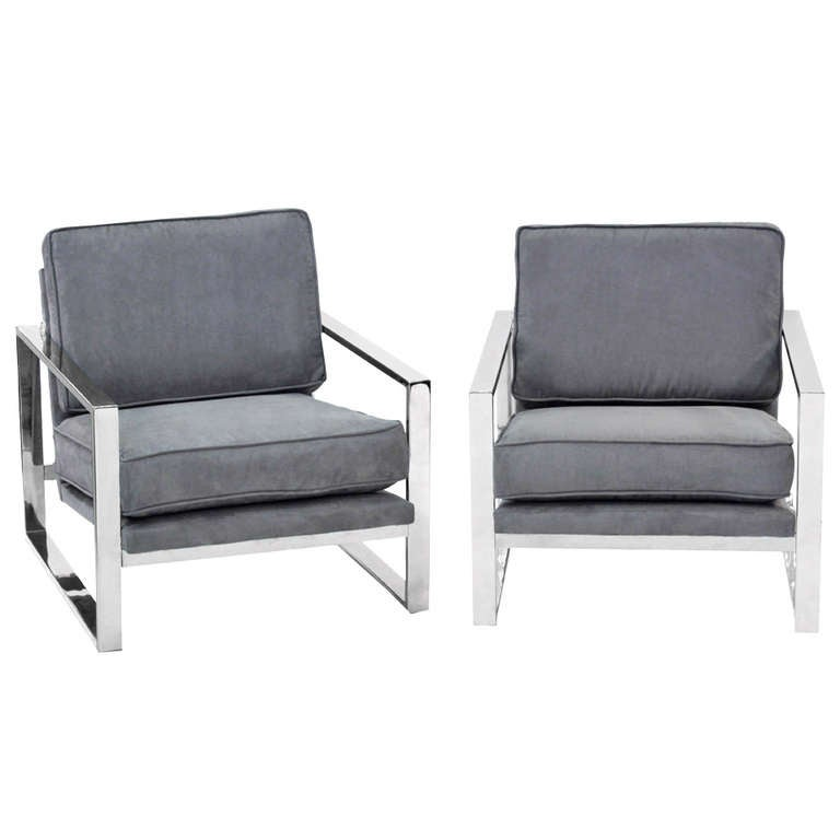 Pair of Sculptural Lounge Chairs with Chrome Frames 2