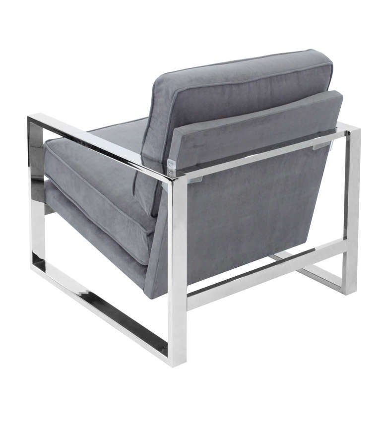 Pair of Sculptural Lounge Chairs with Chrome Frames 5
