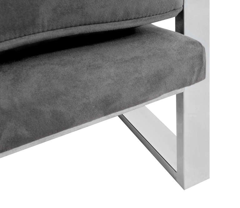 Pair of Sculptural Lounge Chairs with Chrome Frames 6