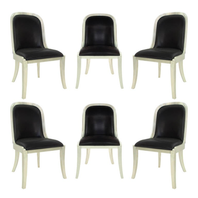 Set Of Six Regina Chairs In Lacquered Silver Leaf By Karl Springer For Sale