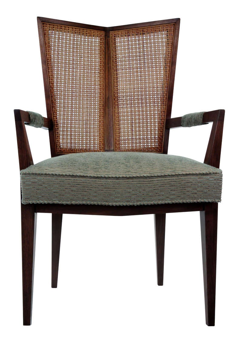 Set Of 6 Dining Chairs With Split Indian Cane Backs By