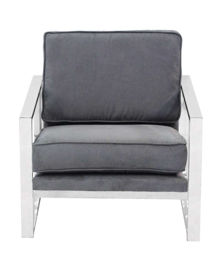 Pair of Sculptural Lounge Chairs with Chrome Frames 3