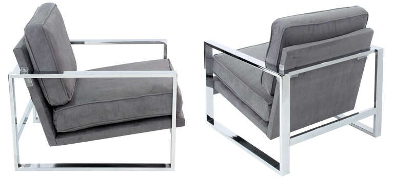 Pair of Sculptural Lounge Chairs with Chrome Frames 7