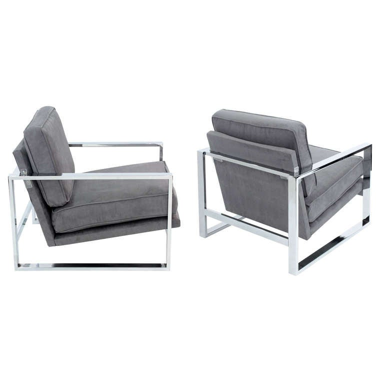Pair of Sculptural Lounge Chairs with Chrome Frames 1