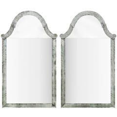Pair of Monumental Mirrors with Antiqued Silvered Frames