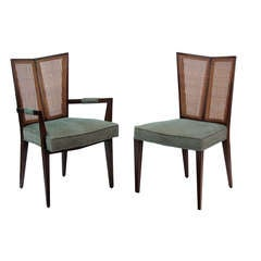 Set of 6 Dining Chairs with Split Indian Cane Backs by Michael Taylor for Baker