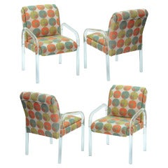 Set of 4 Molded Lucite Dining Chairs by Leon Rosen for Pace