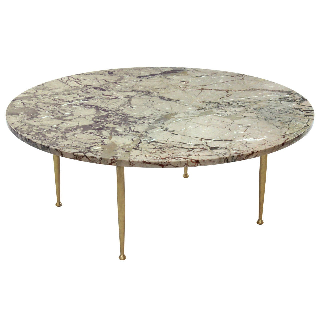 Elegant Coffee Table In Marble With Brass Legs At 1stdibs