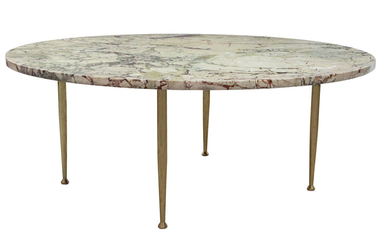 Elegant Coffee Table In Marble With Brass Legs 2