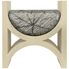 Sculptural Bench with Ivory Craquele Lacquer by Karl Springer