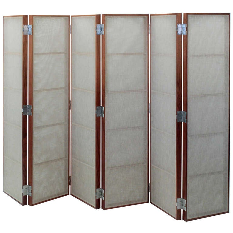 Screen with Sheer Linen Panels by Thad Hayes For Sale
