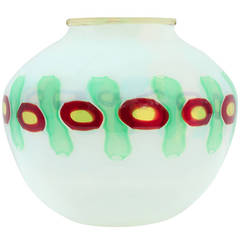 "Handblown ""Murrine Incatenate"" Vase in Opaline Glass by Anzolo Fuga for A.V.E.M."