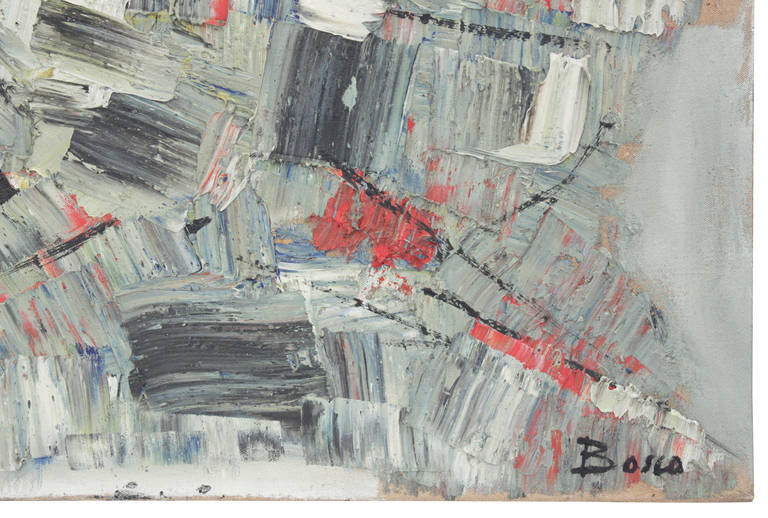 """""""Lac Iman,"""" abstract oil in heavy impasto on canvas by Pierre Bosco, French, 1955 (signed Bosco on front and gallery label on verso)."""