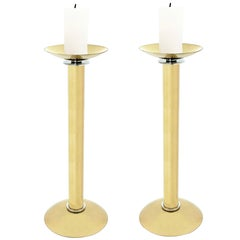 Karl Springer Pair of Candle Holders in Brass 1980s