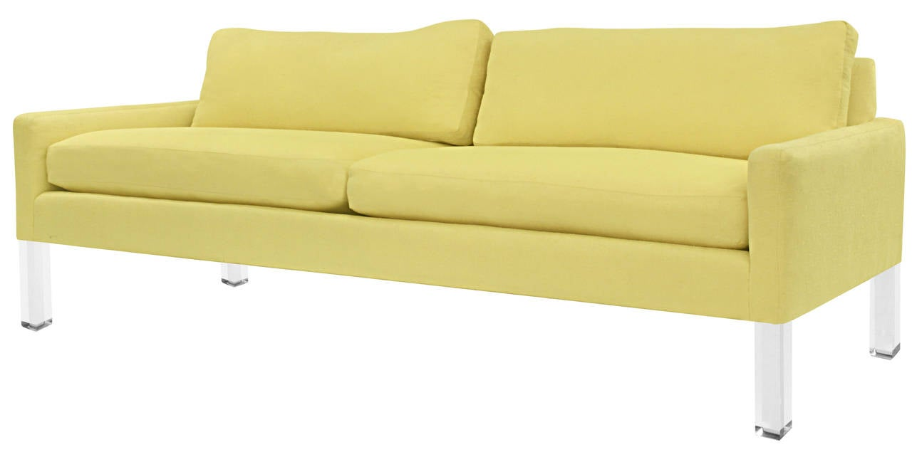 Mid-Century Modern Clean Line Sofa with Solid Lucite Legs For Sale