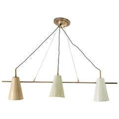 Stylish Triple Multi-Color Pendant Lamp Attributed to Arredoluce