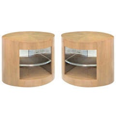 "Pair of ""Cilindro"" Side/Bedside Tables in African Avodire by Sally Sirkin Lewis"