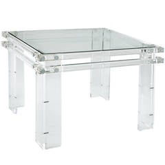 Beautifully Crafted Side Table in Thick Lucite
