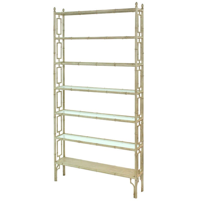 Unique Six Tier Faux Bamboo Etagere By Billy Haines For