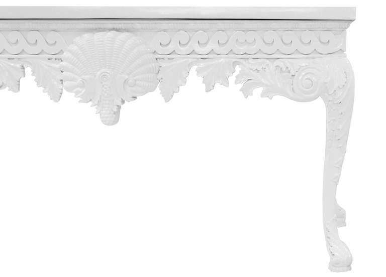 Exceptional HandCarved White Lacquered Console Table For Sale at