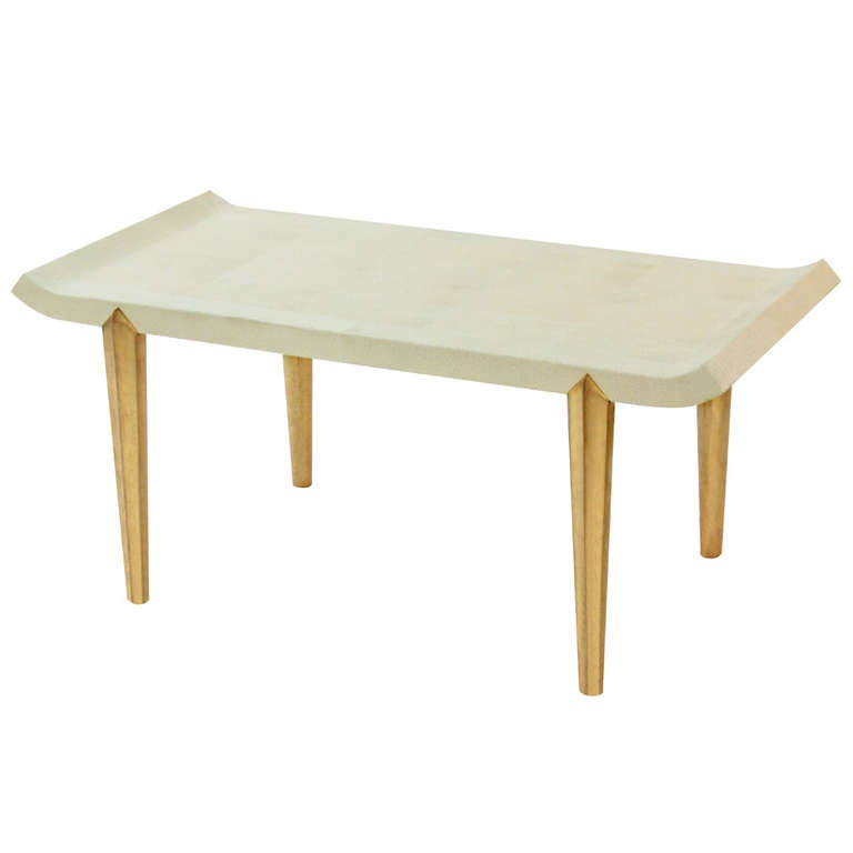 Coffee Table Legs Gold: Elegant Embossed Shagreen Coffee Table With Gold Leaf Legs