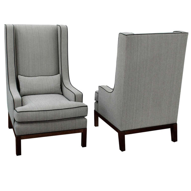 Pair Of Custom High Back Lounge Chairs By Thad Hayes For