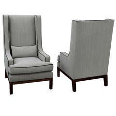 Pair of Custom High Back Lounge Chairs by Thad Hayes