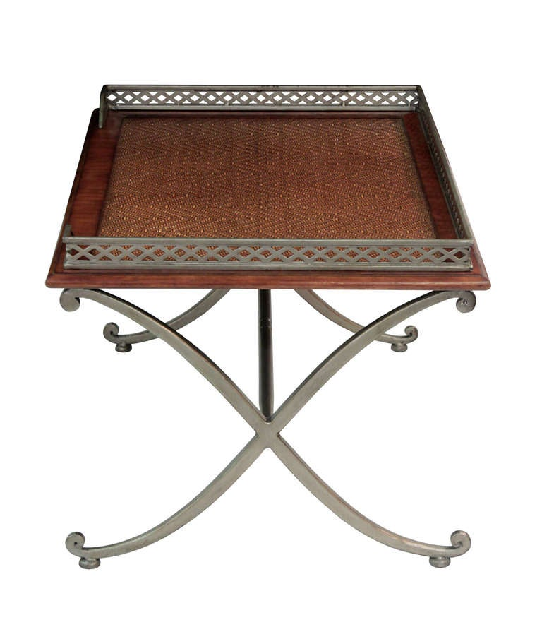 coffee table with inset grass cloth top for sale at 1stdibs