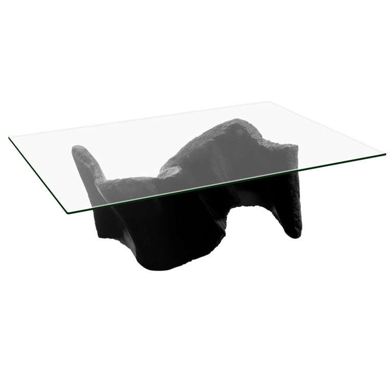 Sculptural Coffee Table With Glass Top By Silas Seandel At 1stdibs