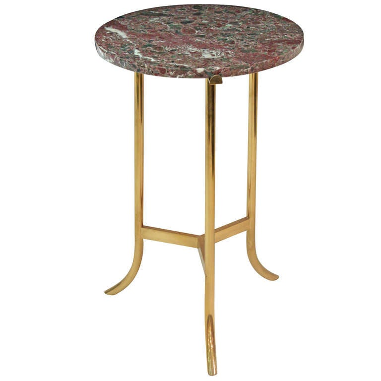 Brass End Table With Marble Top At 1stdibs