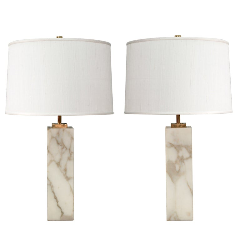 Pair of table lamps in marble by th robsjohn gibbings for hansen pair of table lamps in marble by th robsjohn gibbings for hansen for sale aloadofball Images