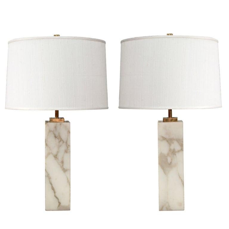 Pair Of Table Lamps In Marble By T H Robsjohn Gibbings