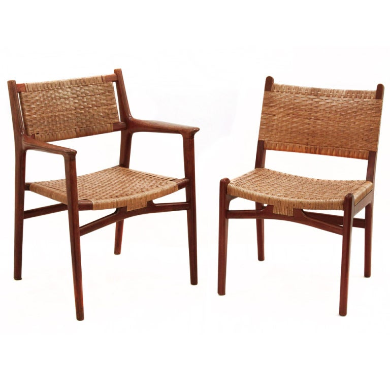 Set Of 6 Teak Dining Chairs With Caned Seats And Backs By Hans Wegner At 1stdibs