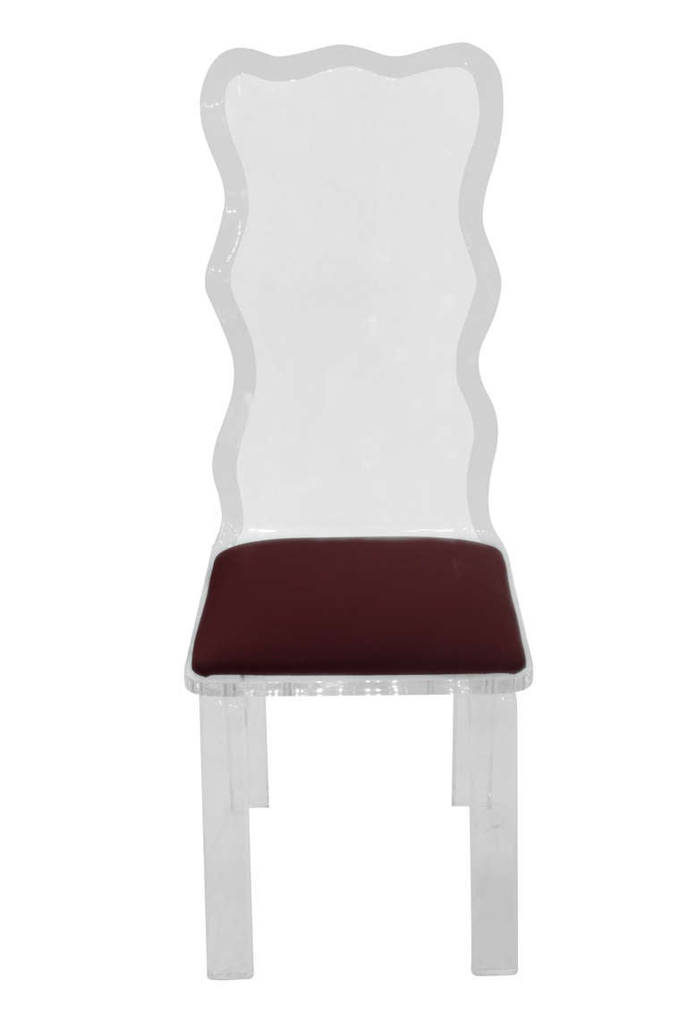 Set Of Six Sculpted Lucite Dining Chairs For Sale At 1stdibs