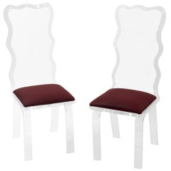 Set of Six Sculpted Lucite Dining Chairs