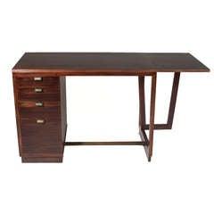 Edward Wormley Simple Mahogany & Bronze Precedent Writing Desk with Drop Leaf