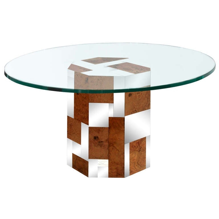 Dining Table With Walnut And Chrome Base By Paul Evans At 1stdibs