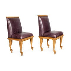A Pair of 1940s Claw Foot Dining Chairs in Sycamore