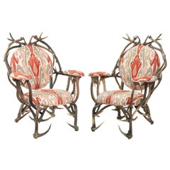 Pair of Studio Crafted Antler Chairs